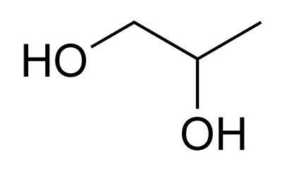 la molecola di glicole propilenico